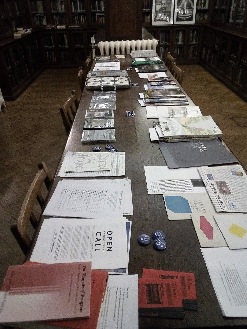 Some of the materials deposited in the This Is Not A Gateway Archive displayed for the Archive Launch at the Bishopsgate Institute. Over 60 films exhibited at This Is Not A Gateway Festivals or Salons have been deposited, including Gabriel Mascaro's films  House-Maids and High-Rise.