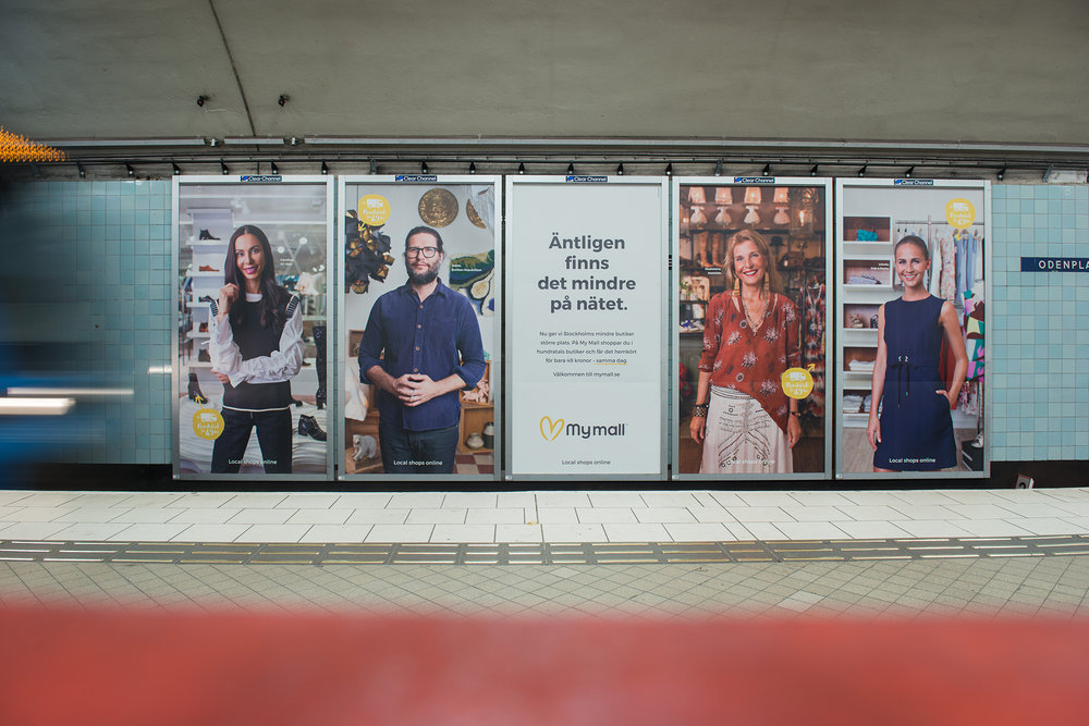 Translation body copy: Now, we're offering Stockholm's smaller stores a bigger space. At My Mall, you shop from hundreds of stores and get your items delivered for only 49 kronor – the very same day. Welcome to mymall.se