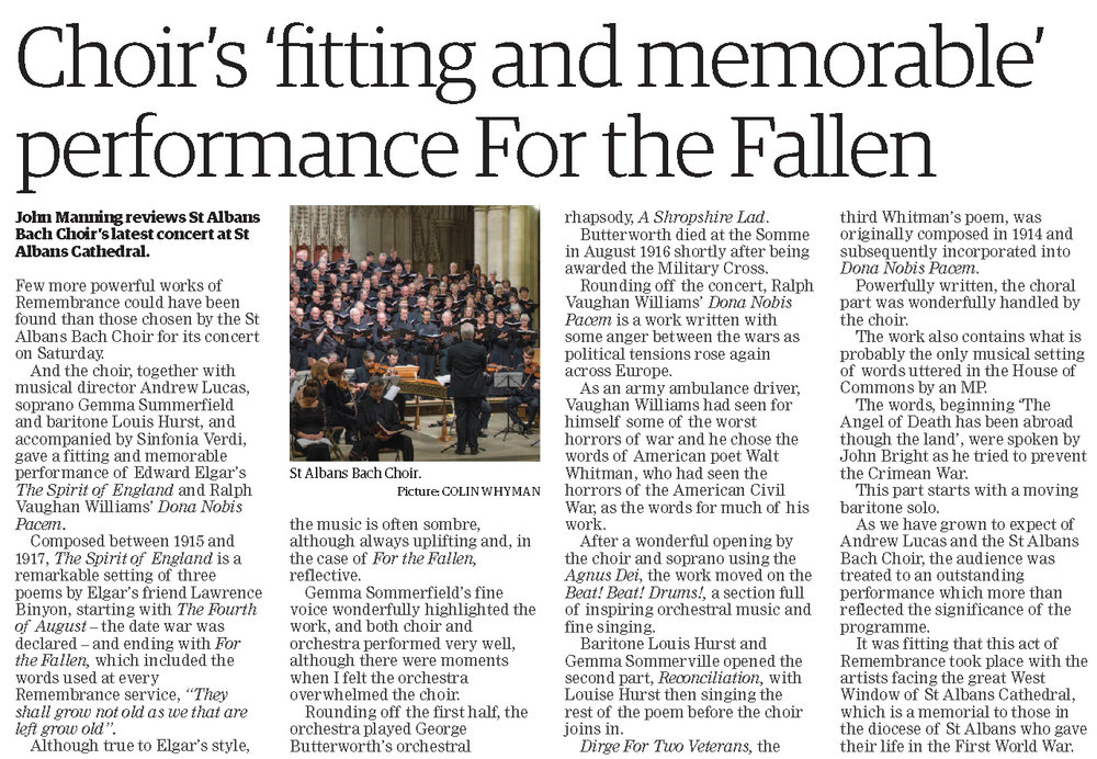 From the Herts Advertiser 22nd November 2018
