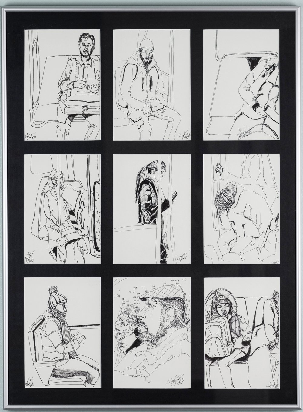 Framed Metro Sketch Set of 9