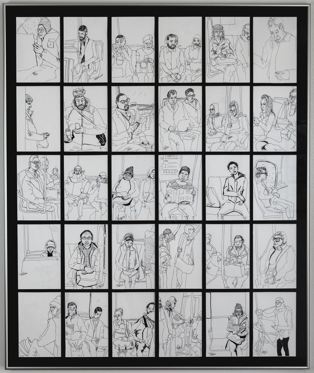 framed metro sketch set of 30
