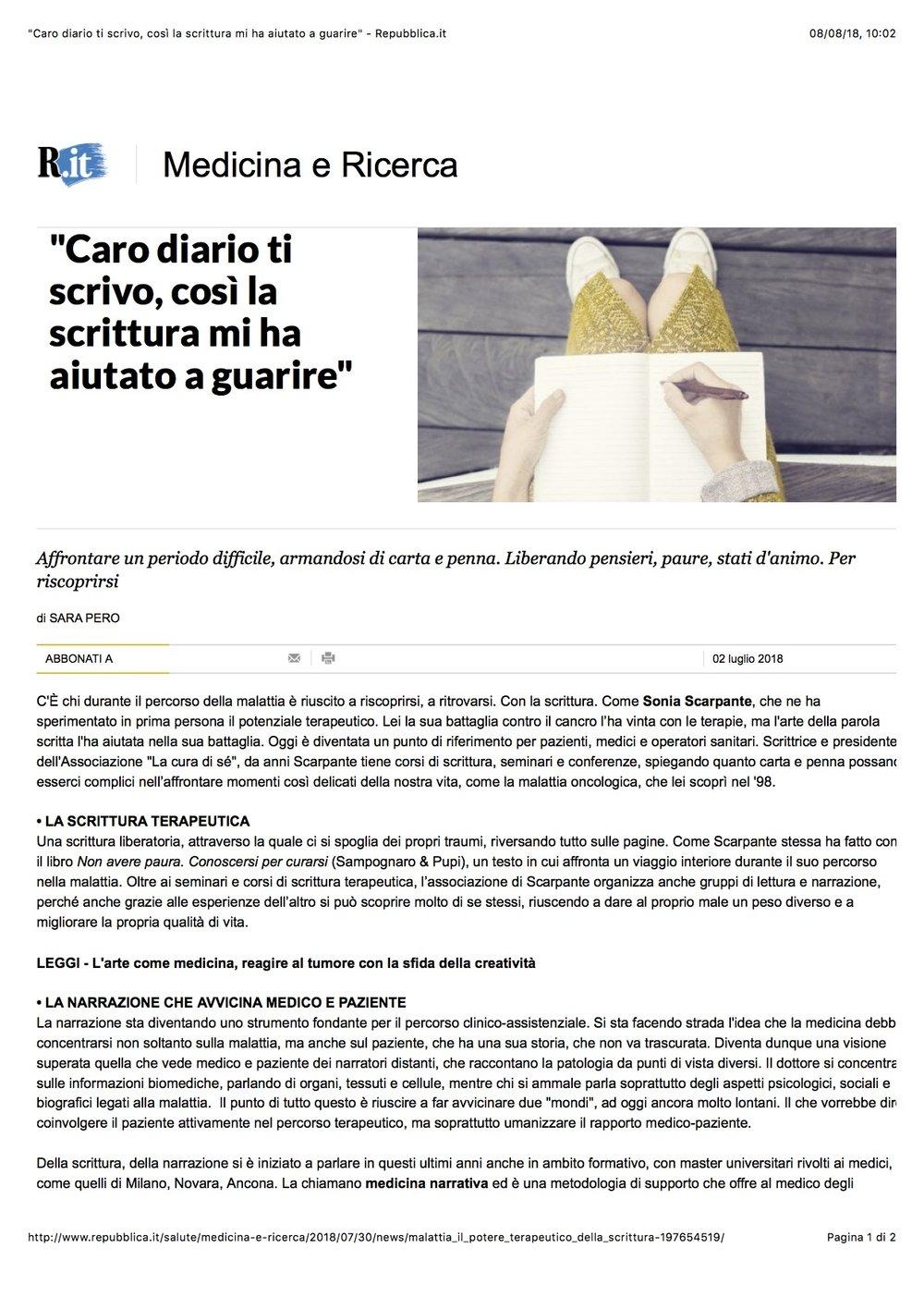 %22Caro diario ti scrivo, così la scrittura mi ha aiutato a guarire%22 - Repubblica.it.jpg