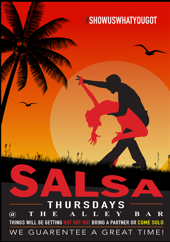 Every Thursday  - One of our most popular nights. If you love a bit of dancing or you want to learn then come down and get taught the traditional Salsa way.