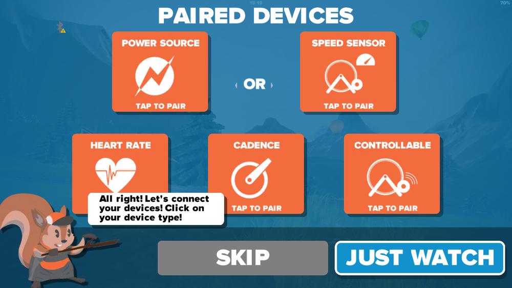 """Die App führt uns sofort auf den Bildschirm, wo wir unsere Geräte mit der App koppeln sollen. Bluetooth muss eingeschalten sein (siehe Bluetooth-Status links oben) und die Geräte müssen """"aufgeweckt"""" werden. Die beiden oberen Felder lassen die Wahl, woher Zwift die Daten bekommen soll, um die Bewegung des Avatars zu berechnen - Power (Watt) oder von einem Geschwindigkeitssensor (das ist die ungenauere Variante!). Unten wählt man optional Herzfrequenz und Trittfrequenz aus, unten rechts kann man einen """"Smart Trainer"""" koppeln, der dann von der Software gesteuert wird. Wenn man dem eigenen Powermeter mehr vertraut als den Watt, die der Rollentrainer auswirft, ist es auch möglich oben den Powermeter auszuwählen und unten die Rolle als """"Controllable Trainer""""."""