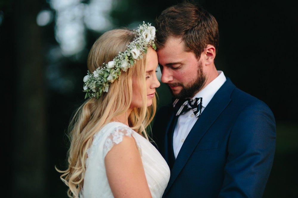 Bryllupsbilde i solnedgangen