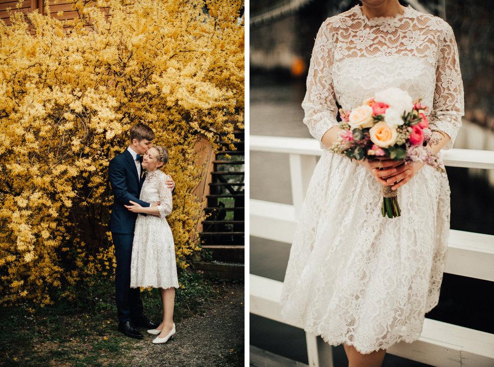 Eirin leide sin vintage brudekjole fra  Elsas Vintagebröllop  i Stockholm! Foto:  Michaela Klouda Photography