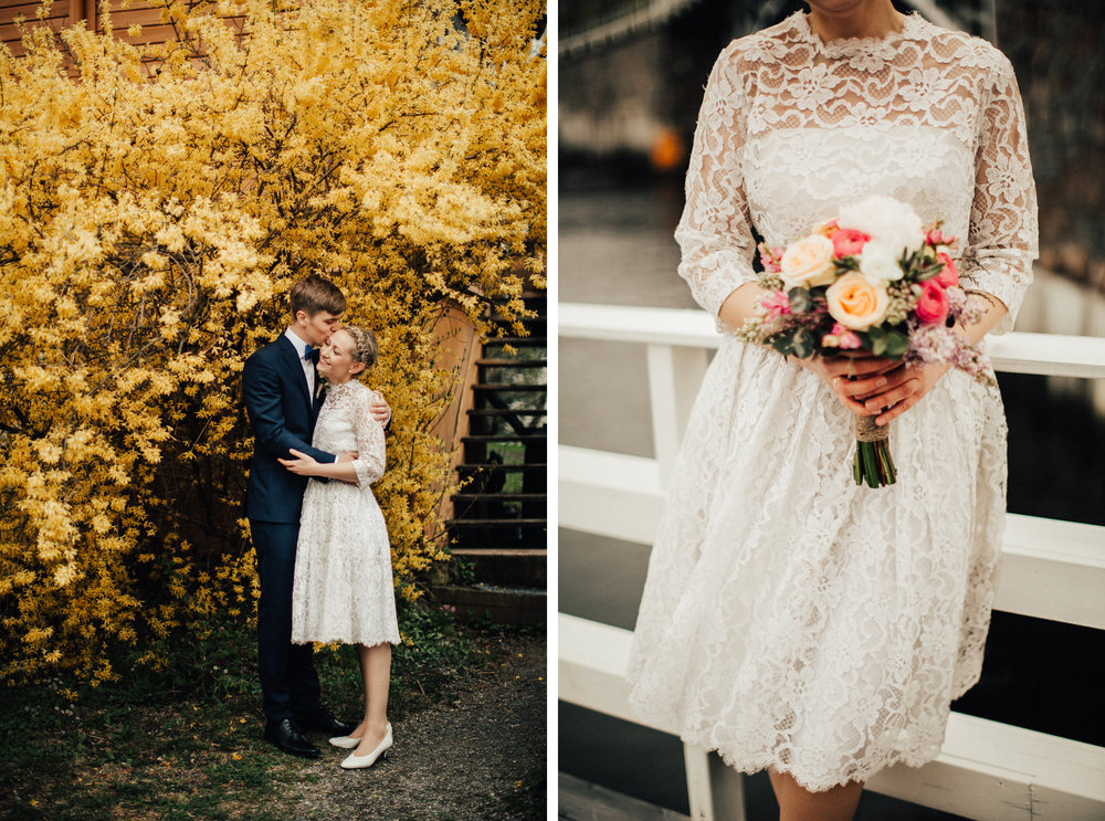 Eirin leide sin vintage brudekjole fra  Elsas Vintagebröllop  i Stockholm! Foto:  Michaela Klouda