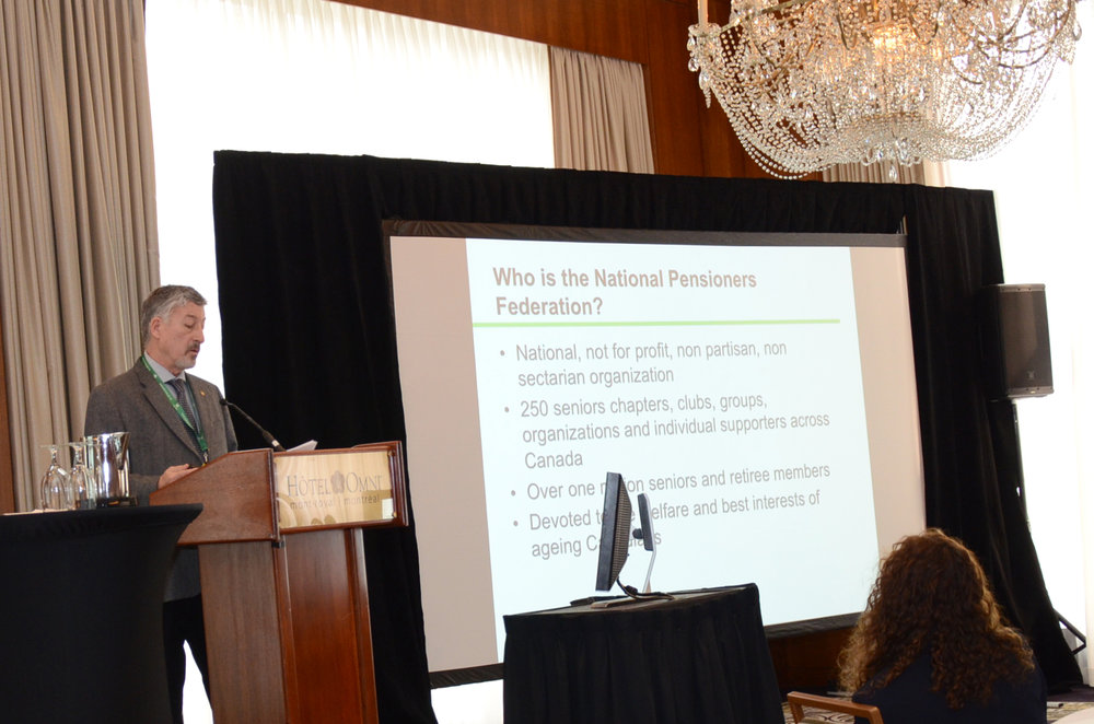 Herb John, past president of the National Pensioners Federation, presenting at the Summit