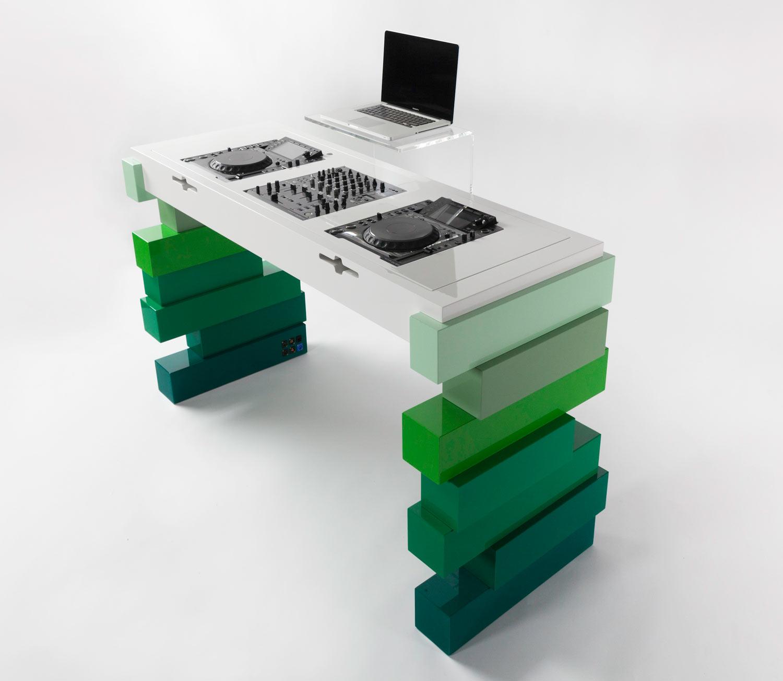 Apollo X Signal White U0026 Green Fade Bespoke DJ Furniture ...