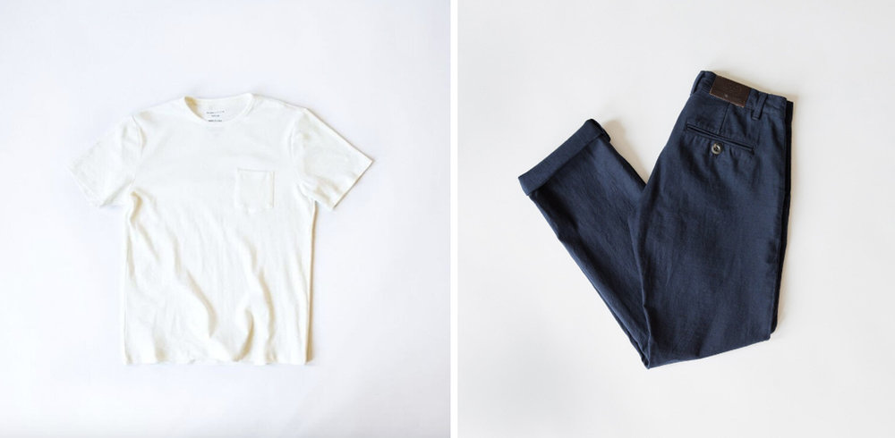 Elevated staples like pocket tees and trousers.