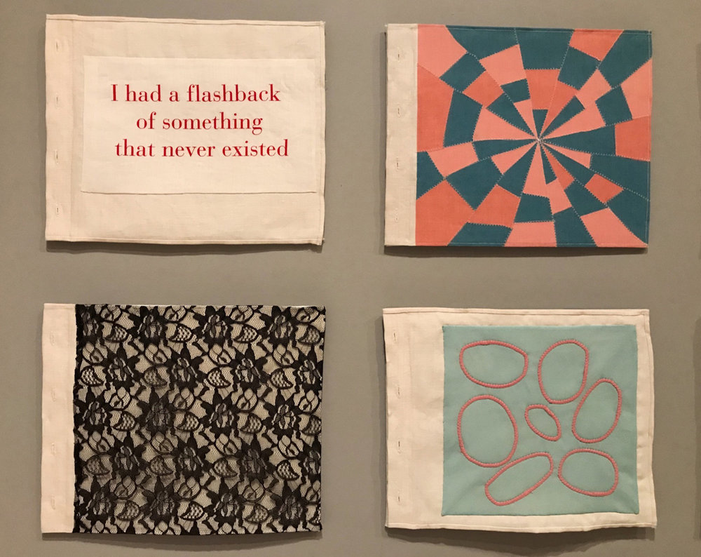"The exhibit includes a great number of her textile works, both bound in book form and individual ""sheets."""