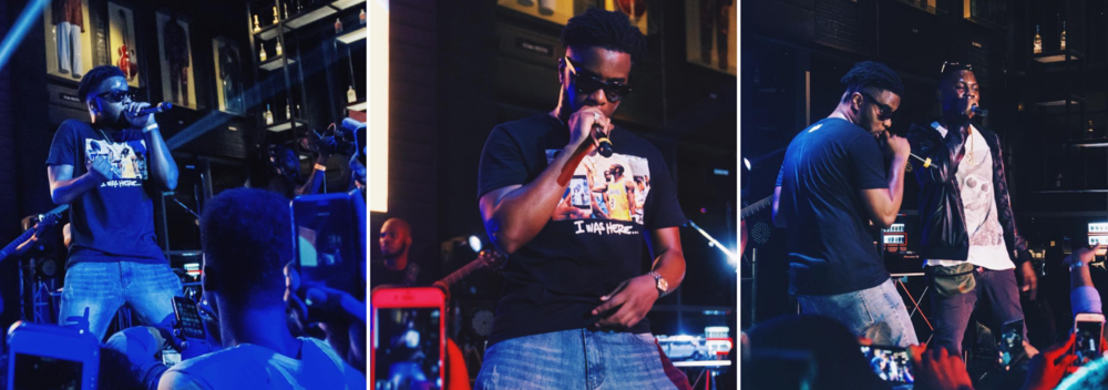 Maleek Berry at Hard Rock Cafe Lagos during his first ever solo sold out concert in Nigeria + Maleek + Ycee. Photo credit:  Blackprintgram