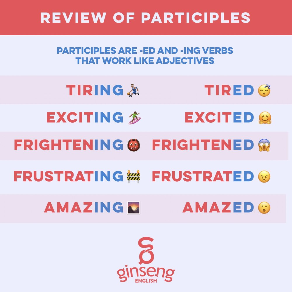 Review of English Participles Card