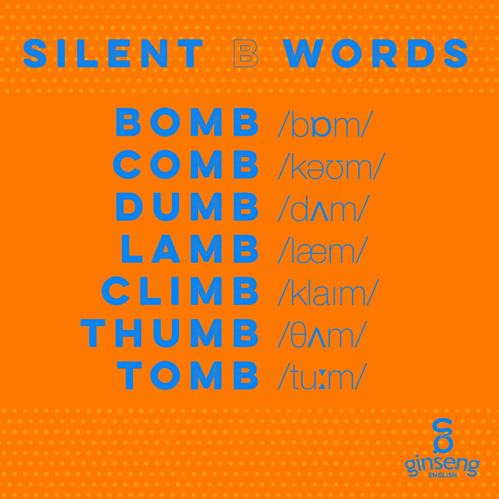 Silent B Words in English