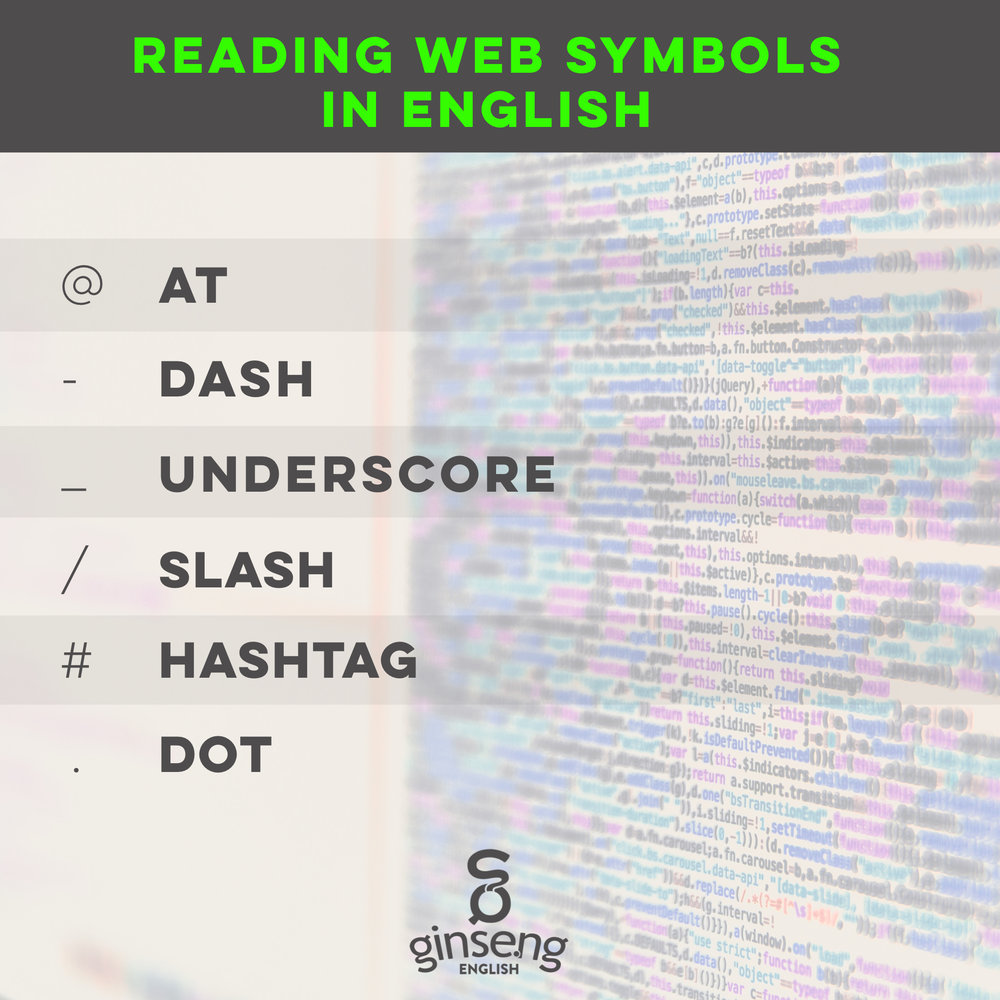 Reading Web Symbols in English