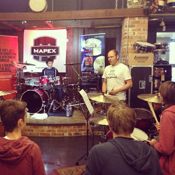 Some of our top students spending some precious time with world famous drummer / session giant clinician and outstanding teacher @jasonbowld #drumstars #masterclass #sunday #sessions