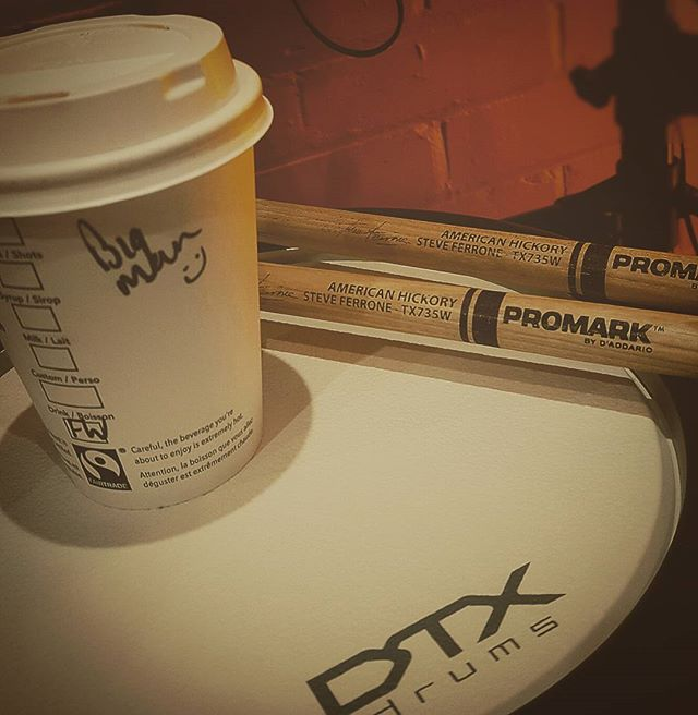 What sarurday morning are all about. #drumstarsuk #yamahadtx #promarksticks #starbucks #bigman #drumshopuk #teaching