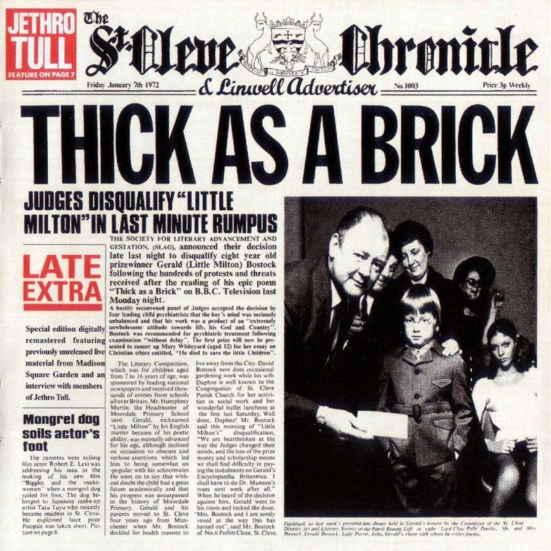 Cover of  Thick as a Brick  featuring Gerald Bostock on the newspaper front page.