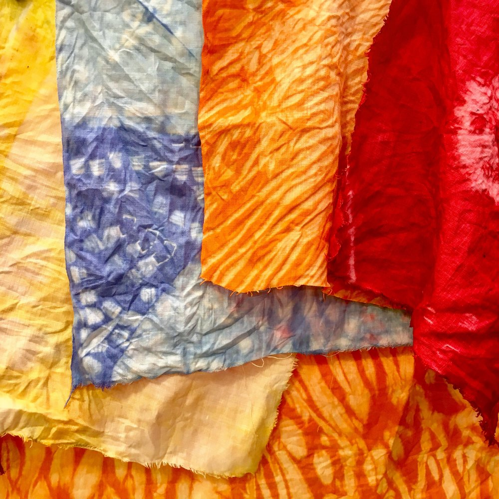 Brilliant Makers - Shibori - We explored ancient Japanese fabric folding and dying on old linen cloth with beautiful results.