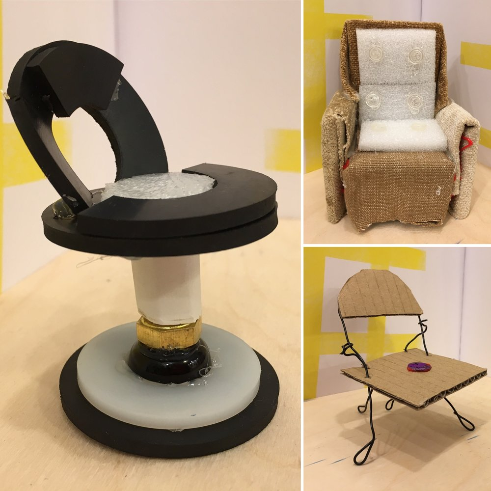 Teen Building - Chairs - We used wire, cardboard, fabric, a few loose parts and of course the glue gun to make these wonderful model chairs. We considered scale and engineering, these chairs swivel and fold - very cleverly designed and executed.