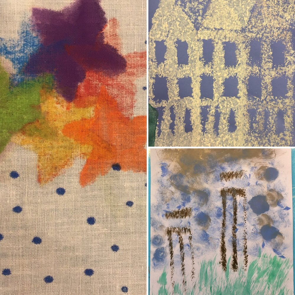 Teen Building - Printing - The makers started by carving their own blocks, then they created repeating patterned prints on paper and cotton fabric. Using both paint and ink, some beautiful pieces took shape.