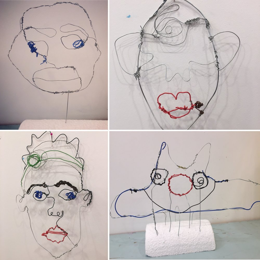 Discover & Create - Wire portraits - Starting with a simple drawing, and with only an hour and a half, we used lots of different colours and thicknesses of wire to create these amazing heads. Some 2D and some 3D, they were each really wonderful - and the makers even forgave me their sore fingers!