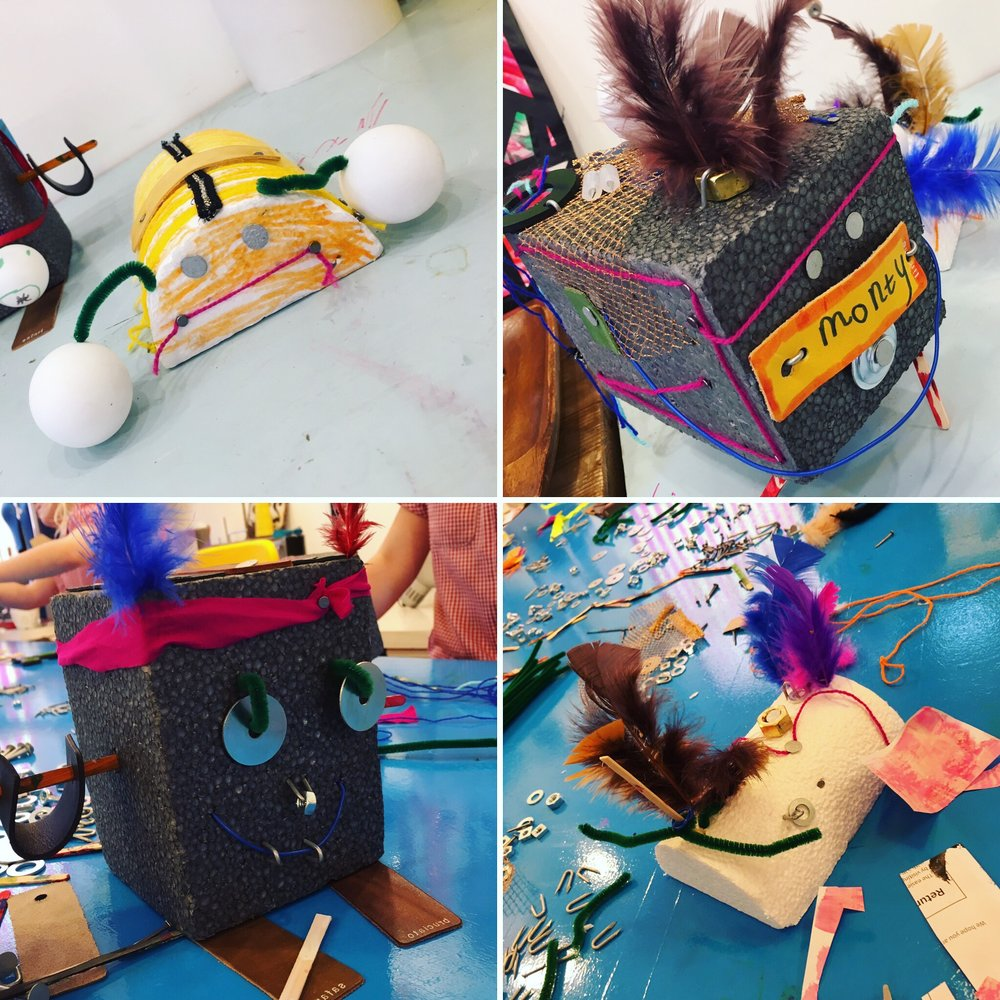 Play & Explore - Creatures - Using polystyrene blocks and a huge selection of loose parts we created the most amazing selection of creatures. Re-using and re-purposing materials gives such freedom of ideas, there is no way of doing it 'wrong'.