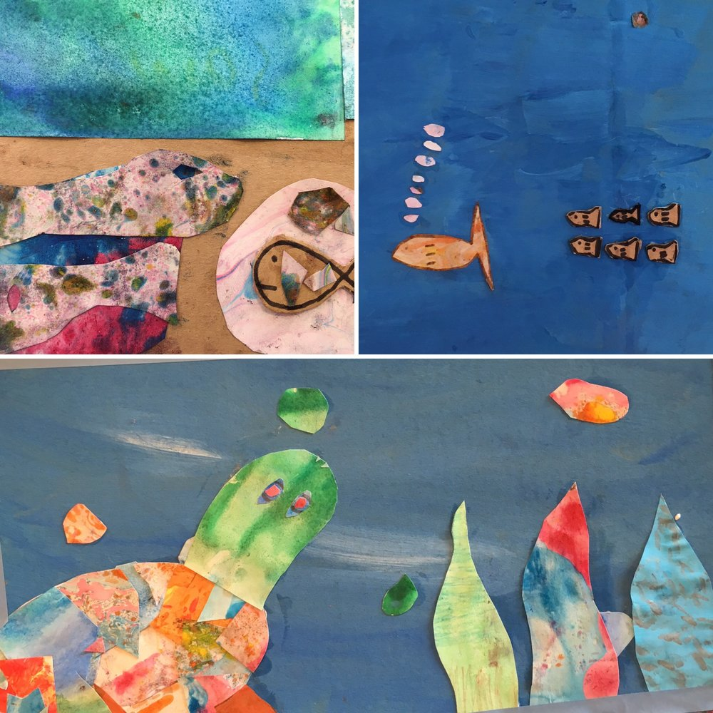 Brilliant Makers - Collage - This is the culmination of 3 weeks of working with paper. These makers coloured, marbled, salted, painted and found their own papers, and in this final piece they cut and shaped their works into beautiful under-the-sea-scapes.