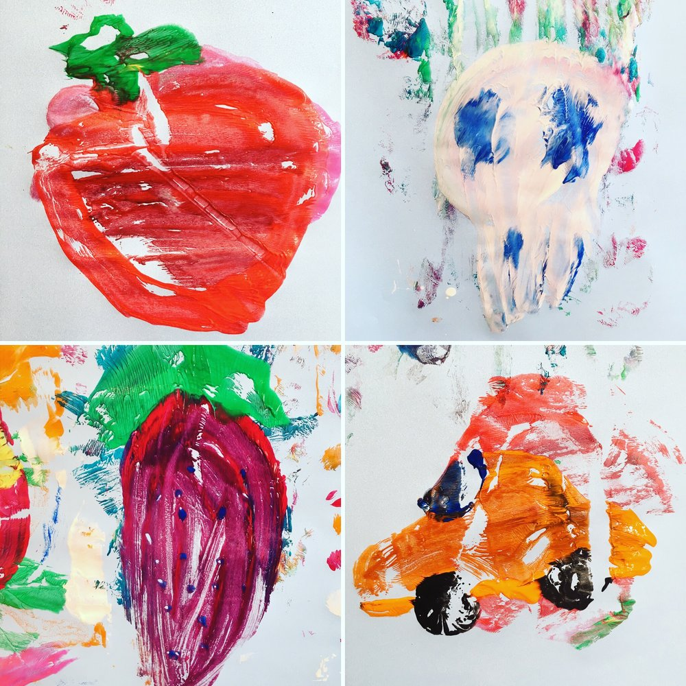 Discover & Create - Printing - In this class we painted onto plastic bags and then transferred our prints onto a huge piece of paper that I'd attached to the wall. Its great to stand up and work and this week we ended up with art on the floor as well as on the wall!