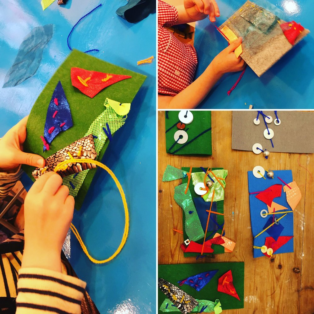 Play & Explore - Sewn Collage - At the beginning of this class at least two of the 5 year olds were too scared to touch the needle. At the end they were all so proud of themselves and were asking to take the needles home so they could carry on later! In my experience, if you trust children with tools and materials, and you offer them the skills to use them they will  reach new levels of satisfaction.