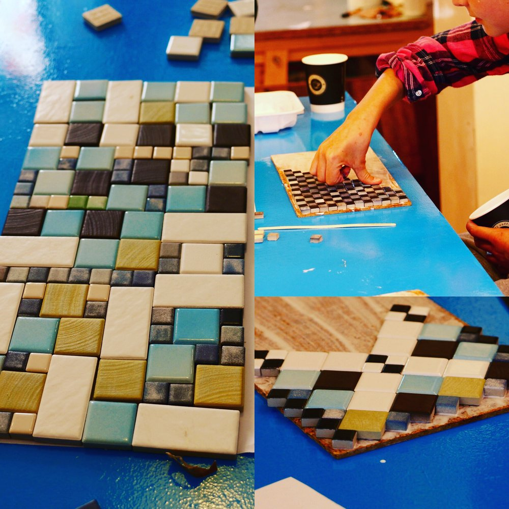 Discover & Create - Mosaics - Small ceramic tiles, a wooden base and a lot of concentration led to some clever and intricate designs.