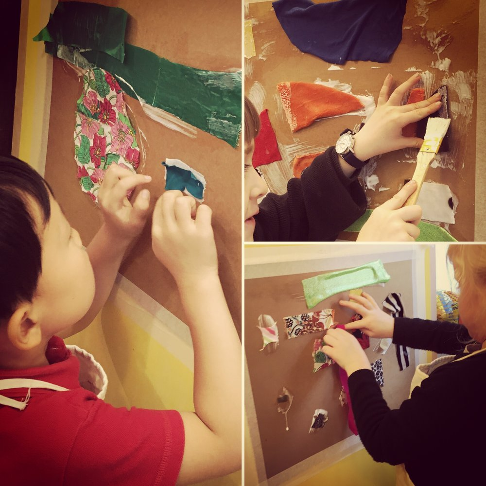 Play & Explore _ Collage - We set our mounts on the wall this afternoon and used brilliant scissor work to get the fabric pieces just the sizes we needed. It's really freeing to be able to run back and forth the the materials and decide for ourselves which pieces we want to include.