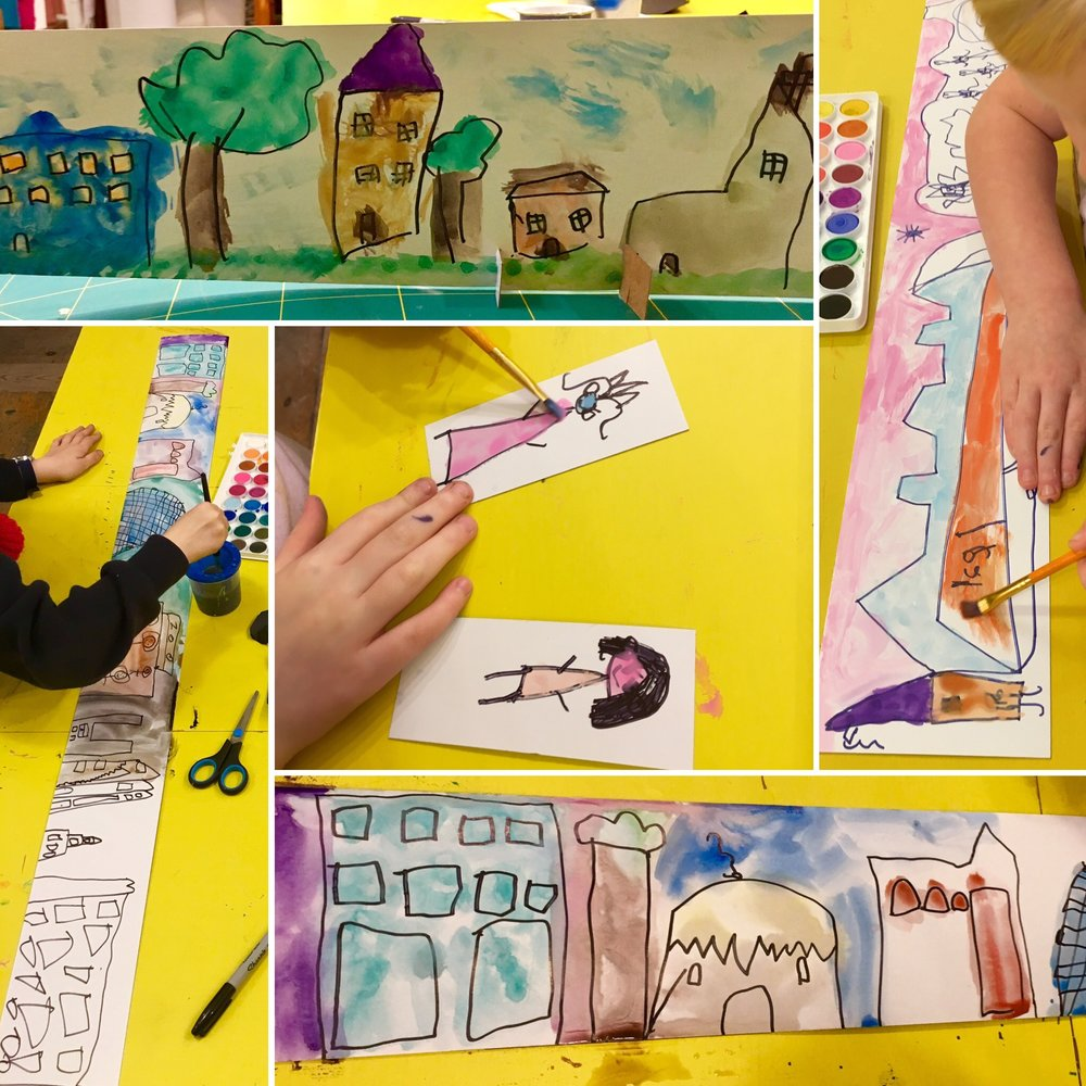 Play & Explore - Watercolour Scenes - All the buildings we could think of were drawn on to the long card with permanent marker. Colour was added to create rich backgrounds for the people and cars that stood up in front.