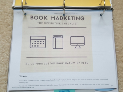 This is the Book Marketing Checklist I printed out from Tim Grahl's website.