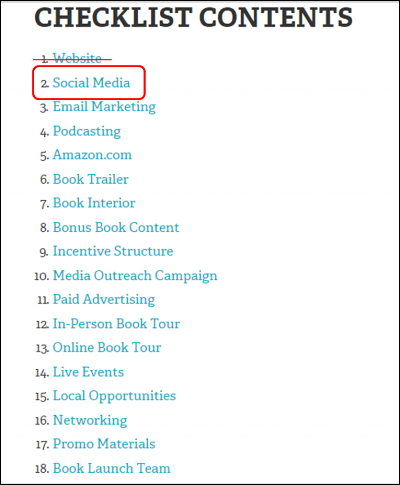 This is the book marketing 101 checklist from Tim Grahl's site.