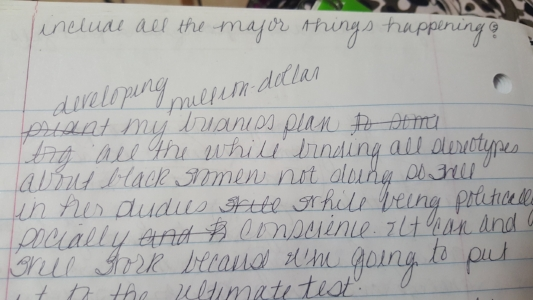 "My journal, written in 2005 at the age of 18. I wrote: ""My plan...binding all stereotypes about Black women not doing so well in her studies while being politically and socially conscious."" Interesting, right?"