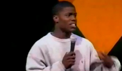 Photo credit: YouTube.com/jusburnho 19-year-old Kevin just starting out on the comedy scene.