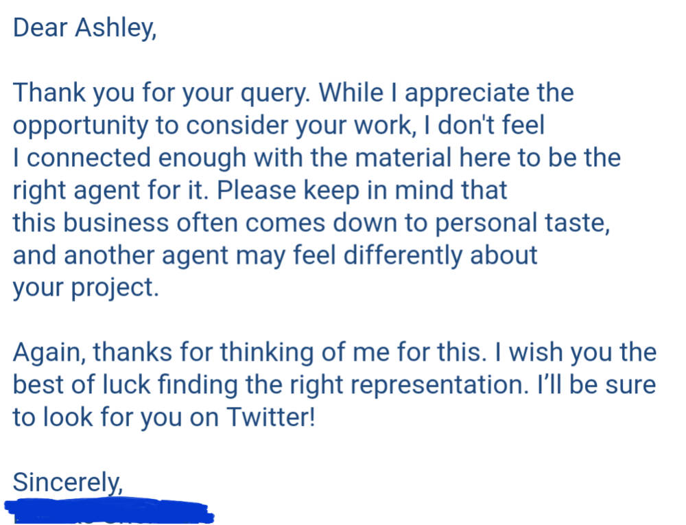 A recent rejection letter
