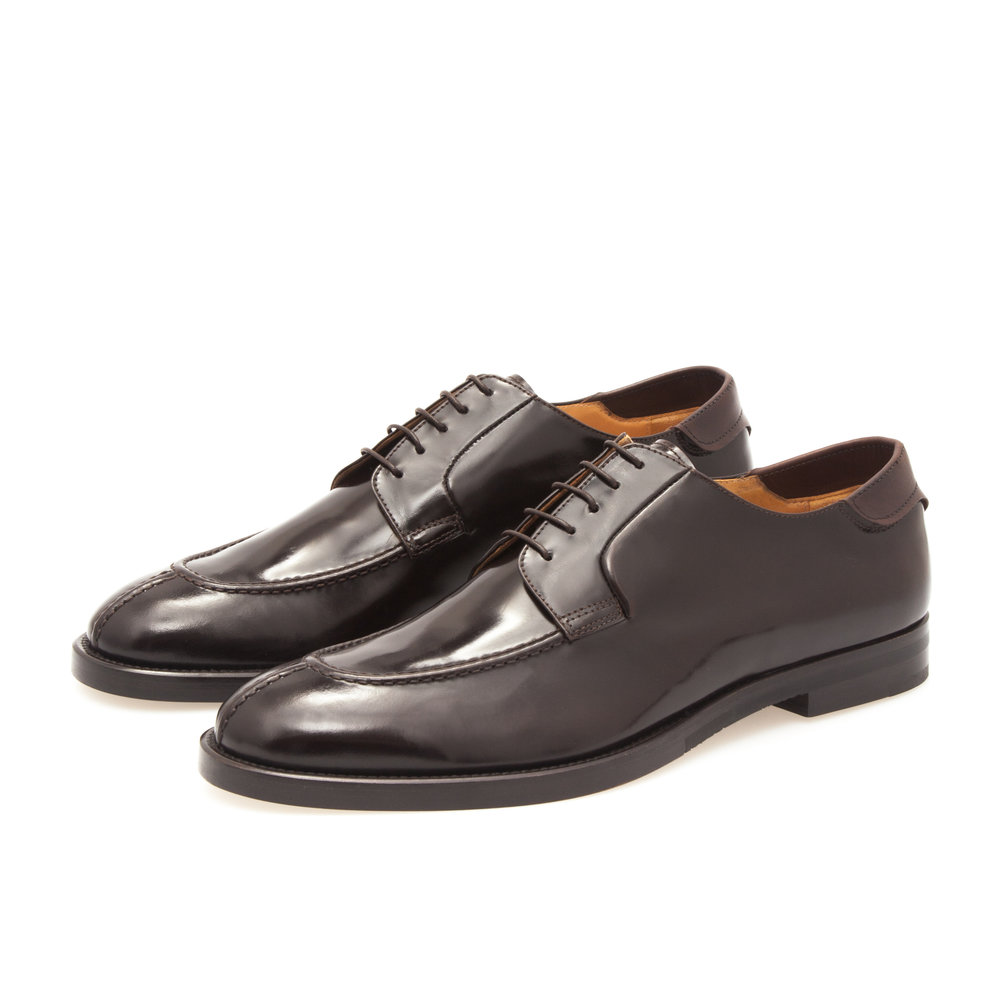 Derby Adler Shoe in Dark Brown Polished Calfskin