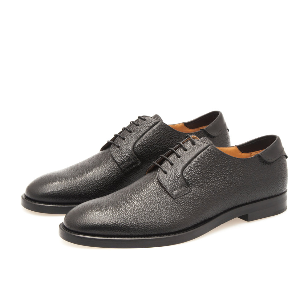 Derby Shoe in Black Pebble Grain Leather