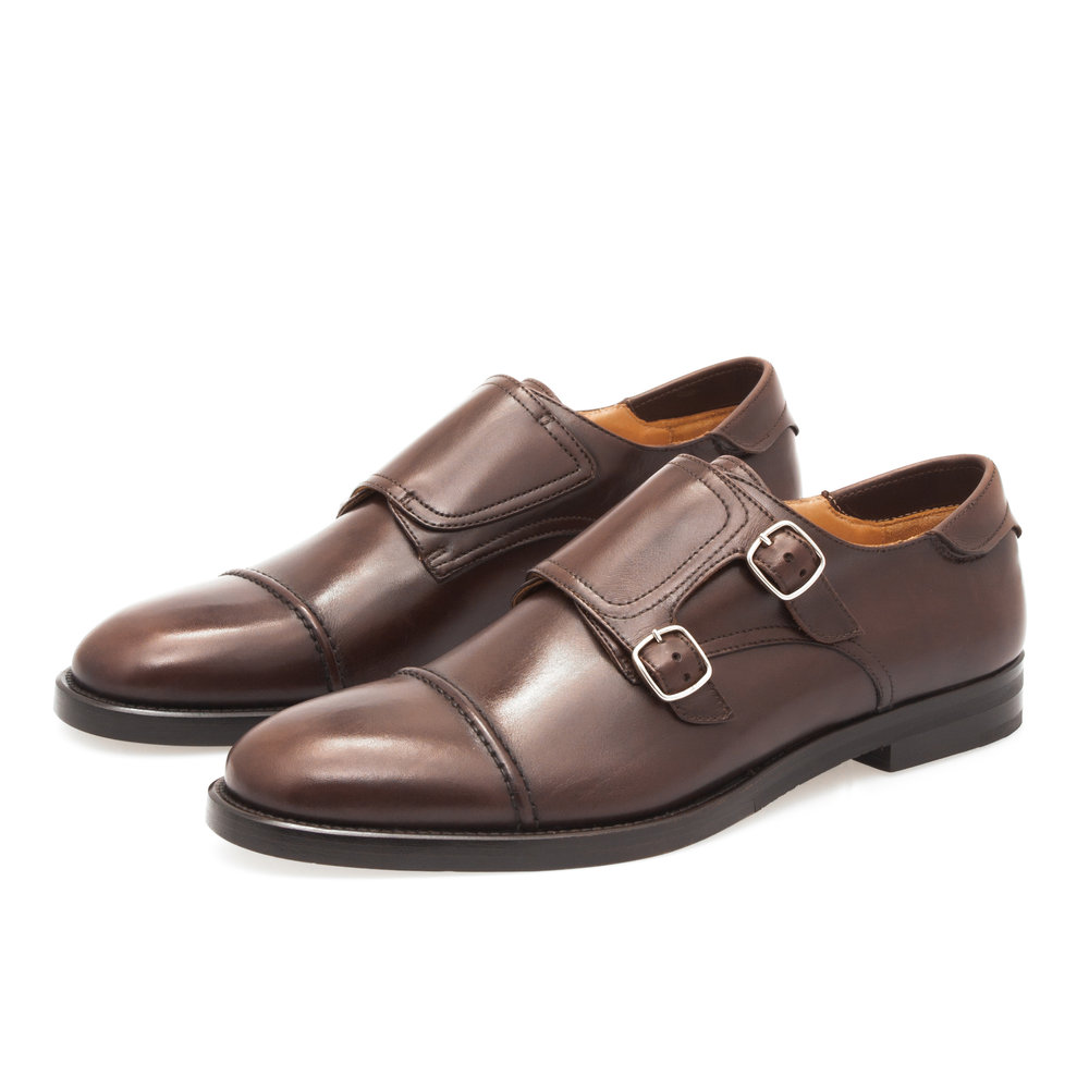 Double Monk Strap Shoe in Brown Calfskin