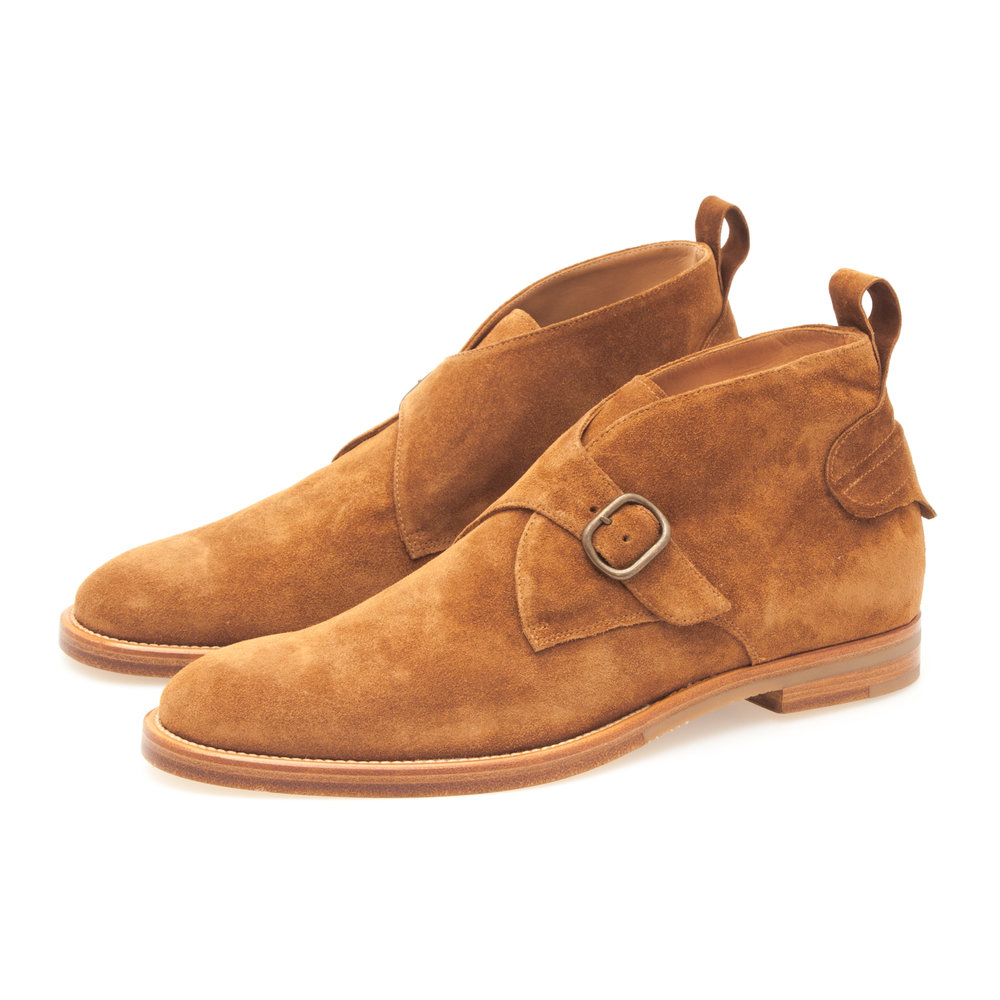 Monk Strap Desert Boot in Tan Suede