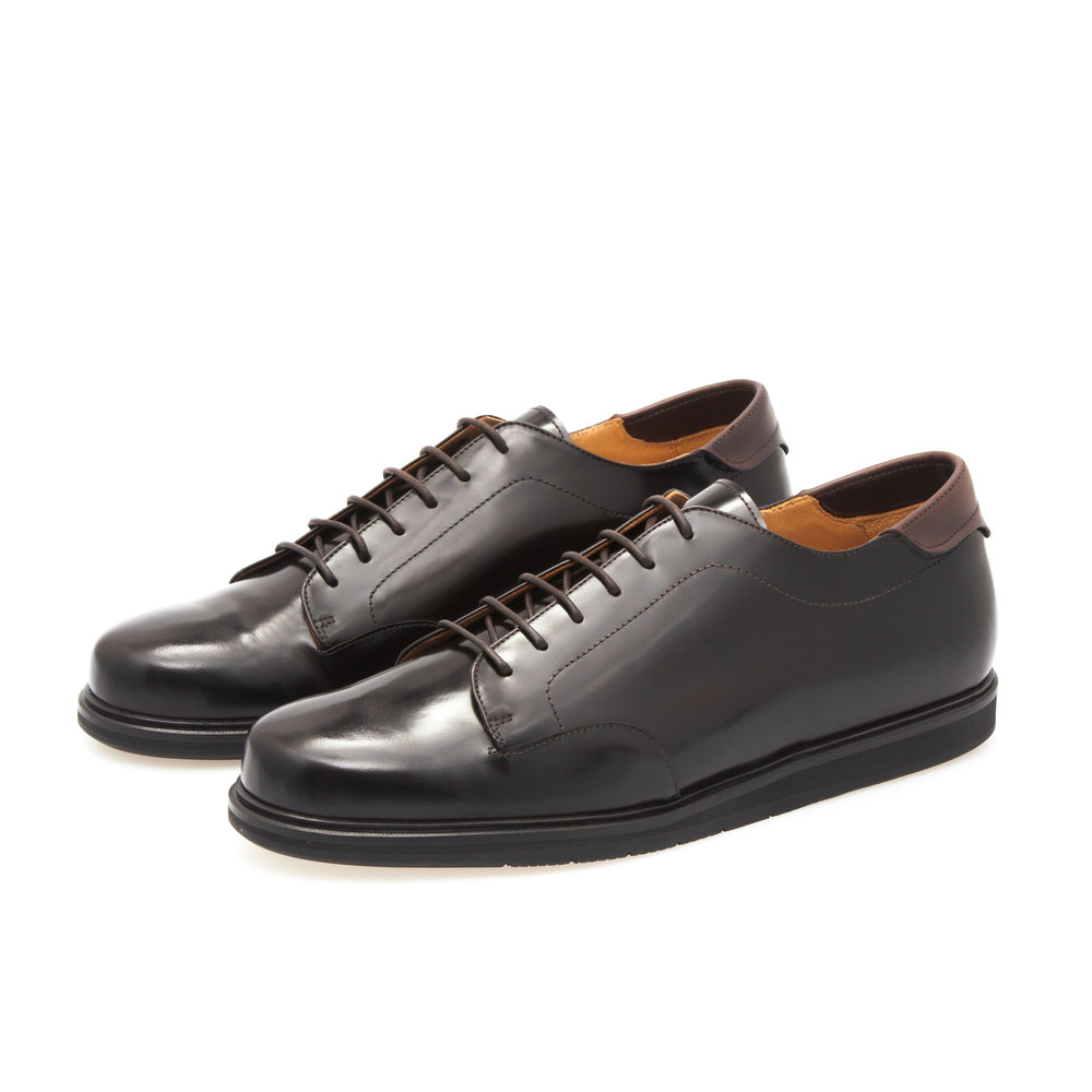Derby Sneaker Low in Dark Brown Polished Calfskin