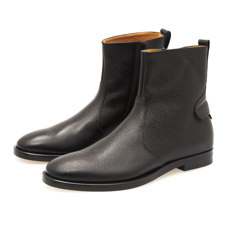 Zip Boot in Black Pebble Grain Calfskin