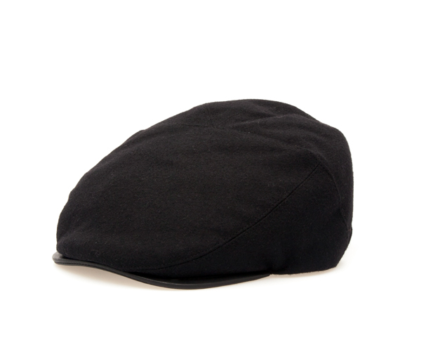 Flat Cap in Black Cloth