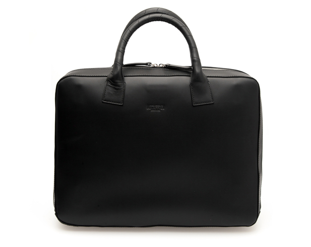 Zip Briefcase in Black Calfskin