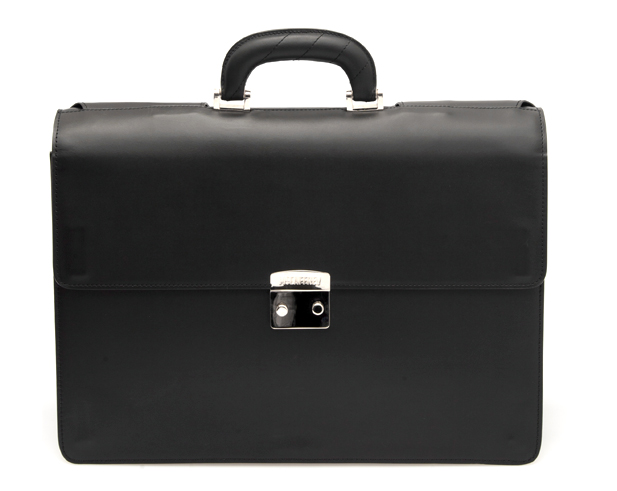 Clasp Briefcase in Black Calfskin