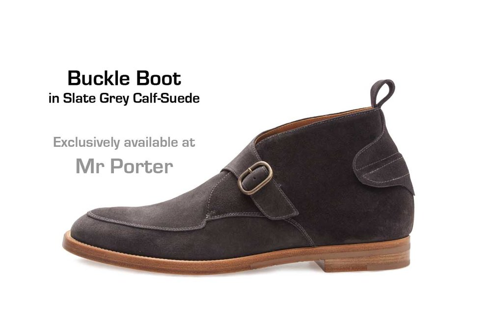 Buckle Boot in Slate Grey Calf-Suede (profile)
