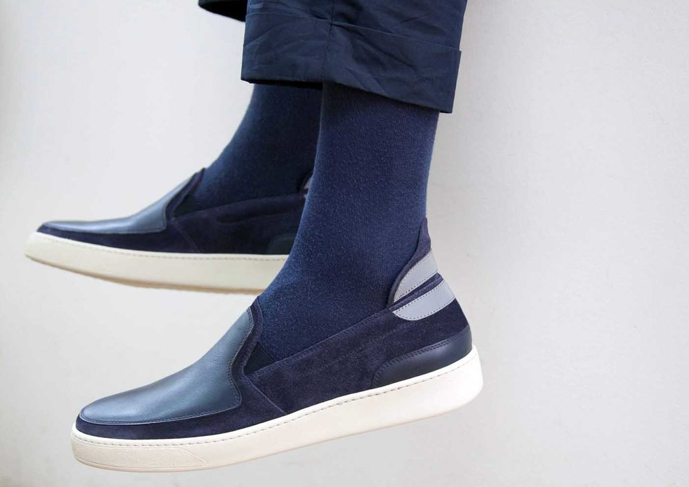 Slip-On in Navy Calfskin and Calf-Suede (context)