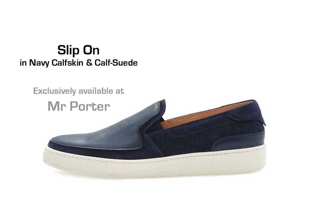 Slip-On in Navy Calfskin and Calf-Suede (profile)